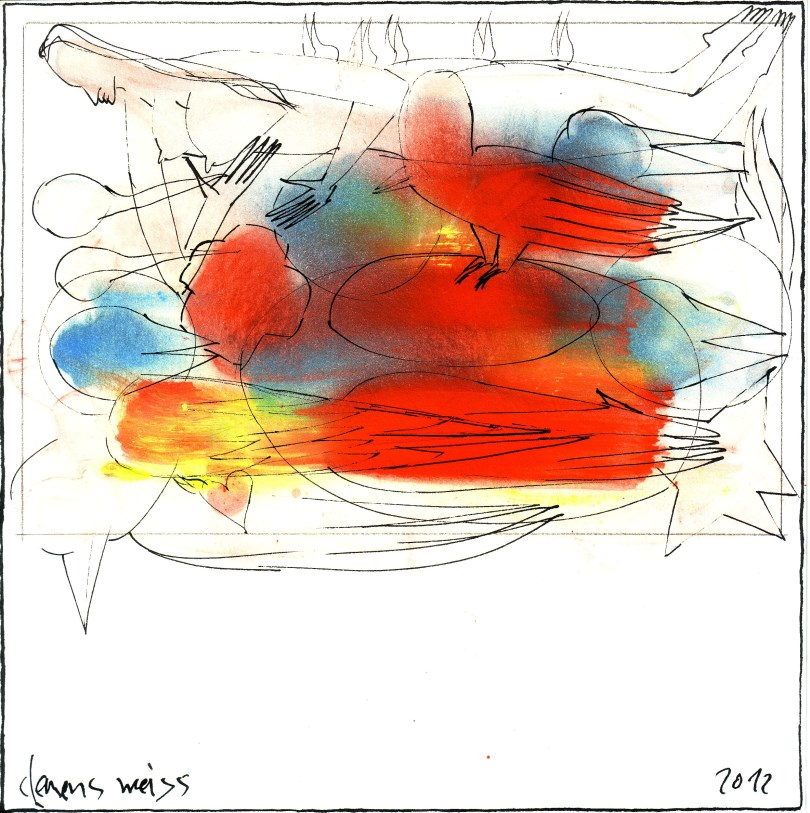 2 birds + girl | Clemens Weiss | New York, 2012 | ink + pigment on paper | 20 x 20cm