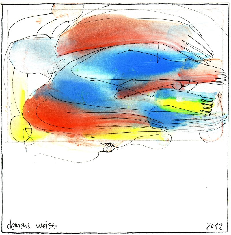 brown + blue fool | Clemens Weiss | New York, 2012 | ink + pigment on paper | 20 x 20cm