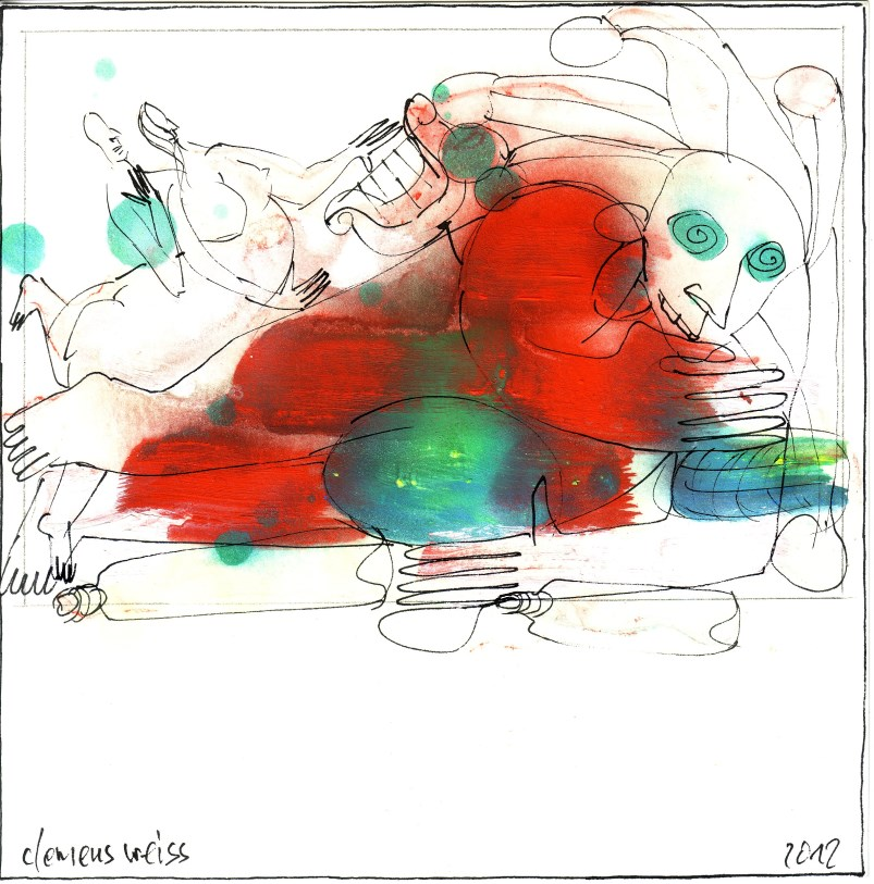 couple + fool | Clemens Weiss | New York, 2012 | ink + pigment on paper | 20 x 20cm